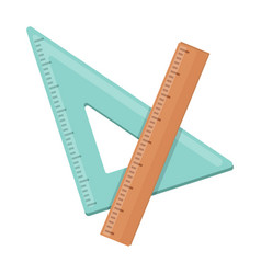 Ruler and triangle devices for school drawing vector