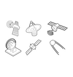 satellite icon set outline style vector image