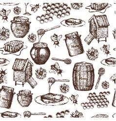 Seamless honey sketch vector