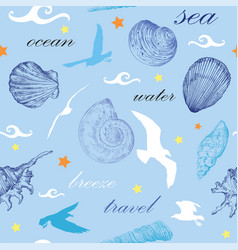 Seamless pattern with seashells and gulls vector