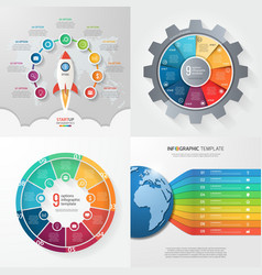 Set 4 infographic templates with 9 processes vector