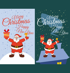 set cards santa claus standing in the snow gifts vector image