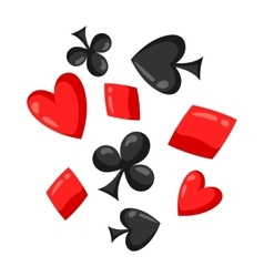 Set of casino red and black card suits falling vector