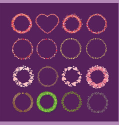 set of frames made from hearts collection wreaths vector image