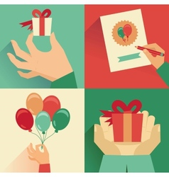 set of greeting card in flat style vector image