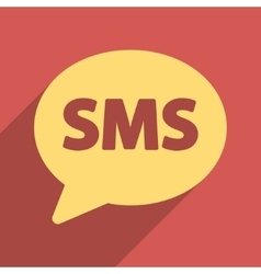 SMS Bubble Flat Longshadow Square Icon vector