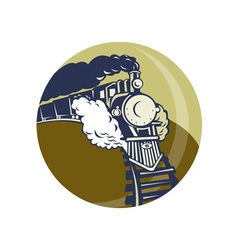 steam train or locomotive coming up vector image