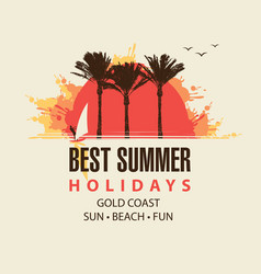 Summer travel banner with sun palms and surfer vector