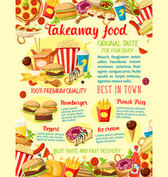 Takeaway fast food restaurant menu poster vector