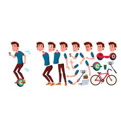 teen boy animation creation set face vector image