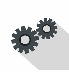 Two gears icon flat style vector
