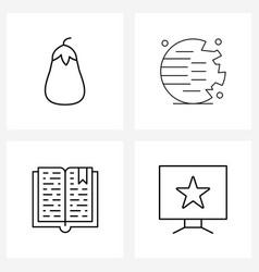 Ui set 4 basic line icons urinal books vector