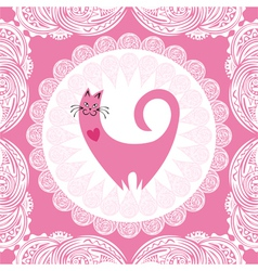 Valentines day card beautiful pink cat with heart vector image