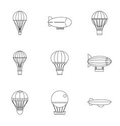 vintage balloons icon set outline style vector image