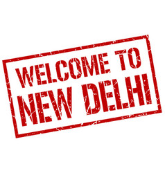 Welcome to new delhi stamp vector