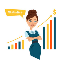 woman showing statistics businesswoman character vector image