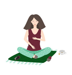 Young woman sitting on floor yoga home vector