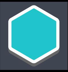 3d flat blank hexagon web button vector