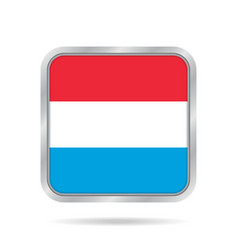flag of luxembourg metallic gray square button vector image