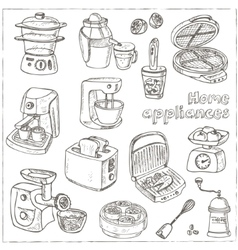 Home appliances themed doodle set Sketches vector image vector image