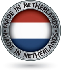 Made in Netherlands silver label with flag vector image vector image