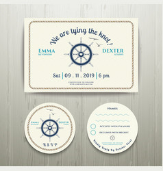 Nautical we are tying the knot wedding invitation vector image vector image