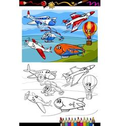 planes and aircraft cartoon coloring book vector image vector image