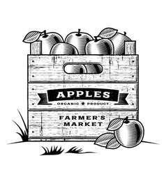 Retro crate of apples black and white vector image vector image