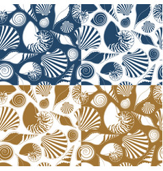 set of summer seamless patterns with sea shells vector image