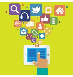 Tablet with social media icons vector image vector image