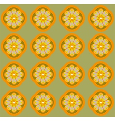 Yellow amber flowers on olive green backdrop vector image
