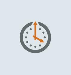Gray-orange Clock Round Icon vector image vector image