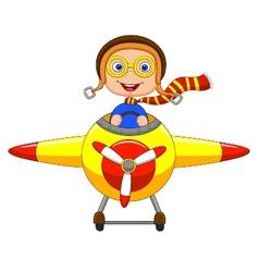 Little Boy cartoon Operating a Plane vector image vector image