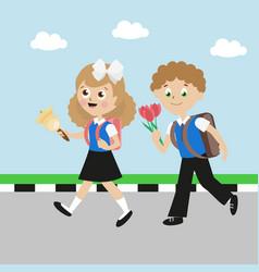 schoolboy and schoolgirl with satchels girl with vector image