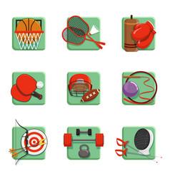 sport icons set boxing badminton gymnastics vector image