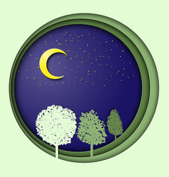 earth day 3d with trees in the night vector image