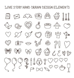 Love story hand drawn design elements doodle set vector image