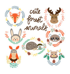 set of cute forest elements animals and plants vector image