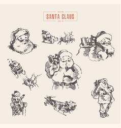 set of santa clauses hand drawn sketch vector image