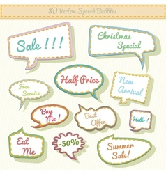 speech bubbles 3d with sale text vector image vector image