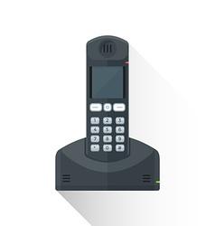 flat style black landline wireless phone icon vector image