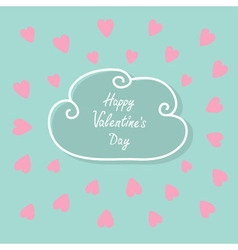 Happy Valentines Day Love card Cloud contour line vector image vector image