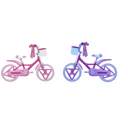 two cute kids bicycles vector image vector image