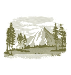 Woodcut Mountain Lake Scene vector image