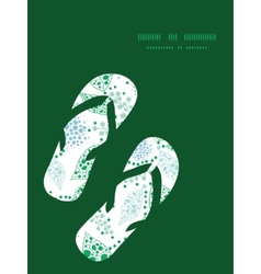 Abstract blue and green leaves flip flops vector