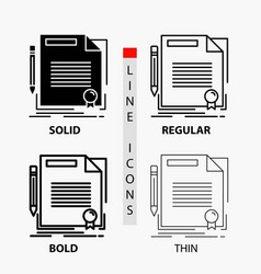 Agreement contract deal document paper icon in vector