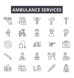 ambulance services line icons signs set vector image