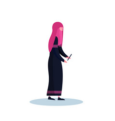 arab woman profile isolated using smartphone vector image