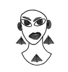 Art drawing portrait of original girl vector