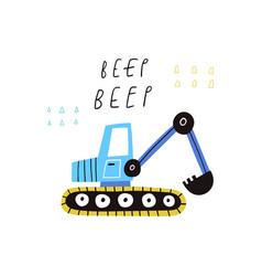 Beep text and cartoon excavator isolated vector